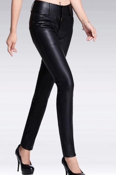 Black PU Leather Skinny Pant H-LB13556 - sexyheksie