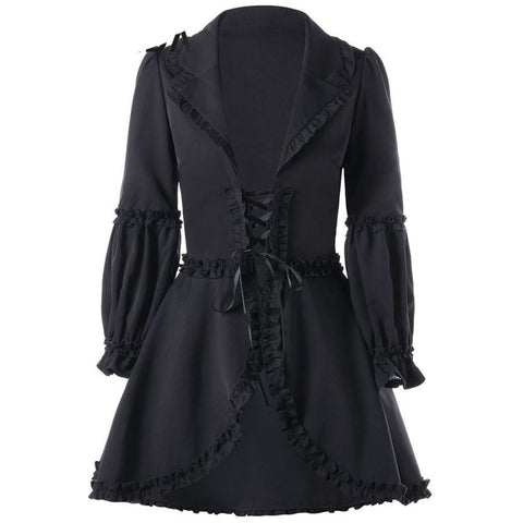 Black Ruffle Trimmed Lace Up Coat Gothic Style Long Skirted Overcoat Casual Womens Outerwear - SexyHeksieLingerie