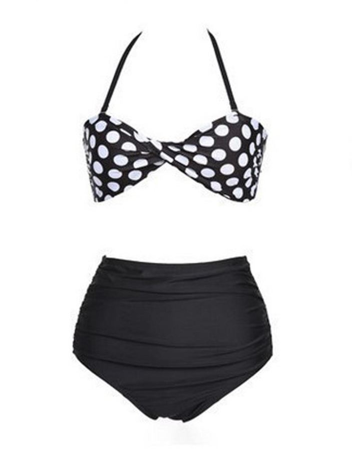 Black Women's 2-piece High Waist Bikini Swimwear W-W846112B Asian XL - SexyHeksieLingerie