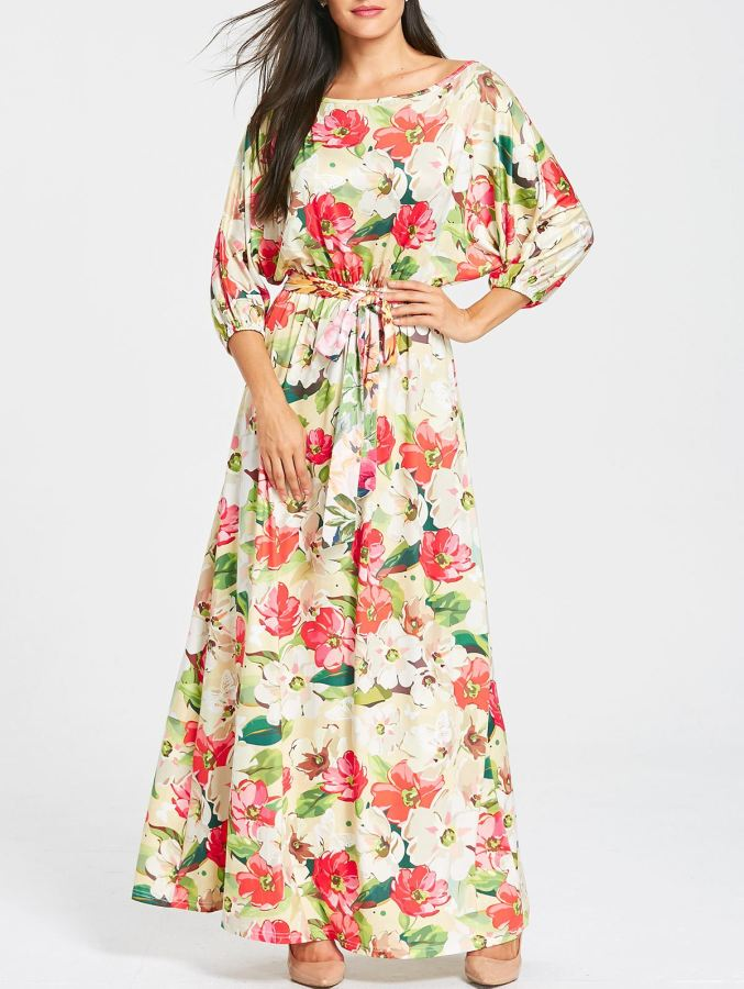 Casual 3/4 Length Batwing Sleeve Floral Print Maxi Dress - sexyheksie