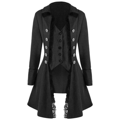 Casual Lace Trim Button Up Tailcoat Gothic Style Trench Coat - SexyHeksieLingerie