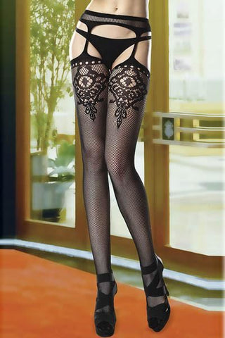 Floral , Keyhole Stockings with Attached Garter Belt LB-L92242 - sexyheksie