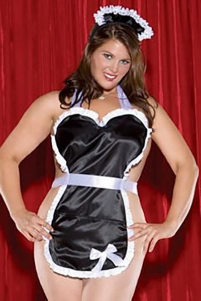 French Maid Black Cut Side Sexy Babydoll LB5009 - SexyHeksieLingerie