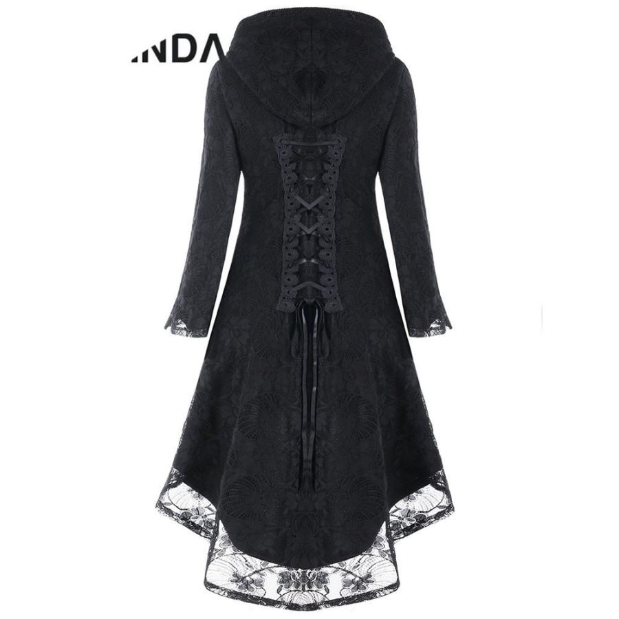 Gothic Style Asymmetric Overcoat Black Hooded Lace Up High Low Overcoat - sexyheksie