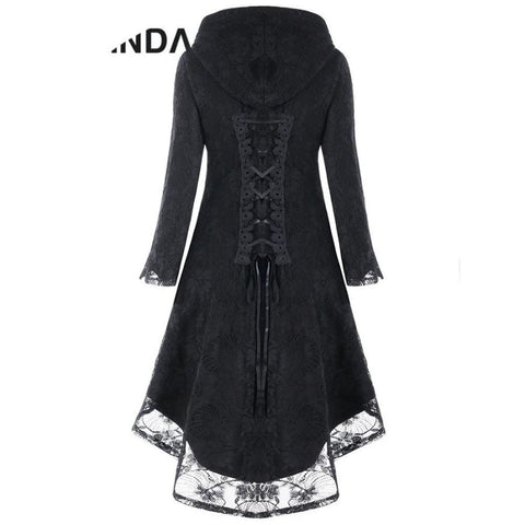 Gothic Style Asymmetric Overcoat Black Hooded Lace Up High Low Overcoat - SexyHeksieLingerie