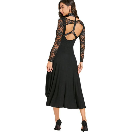 Gothic Style Womens Dress Black Choker Long Sleeves Open Back Dip Hem Dress Lace Party Dress