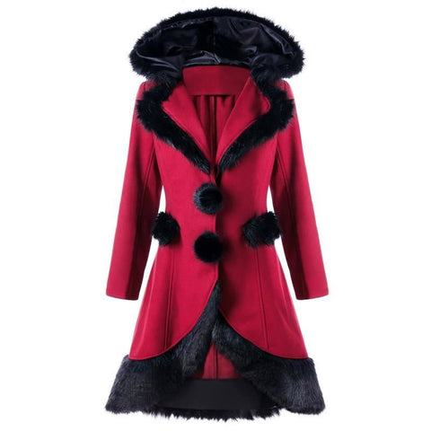 Hair Collar Spliced Wool Coat Winter Women Slim Solid Color Single Breasted Long Coat - SexyHeksieLingerie