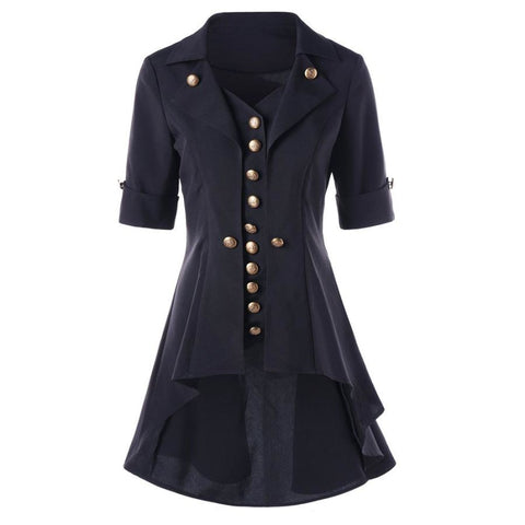 High Low Buttoned Tunic Women Coat Turn-down Collar Short Sleeve Long Outerwear Jacket - SexyHeksieLingerie