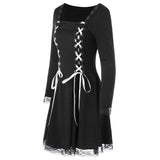 Lace Panel Criss Cross Long Sleeve Mini Dress  Gothic Style Lace Up Black Dress - sexyheksie