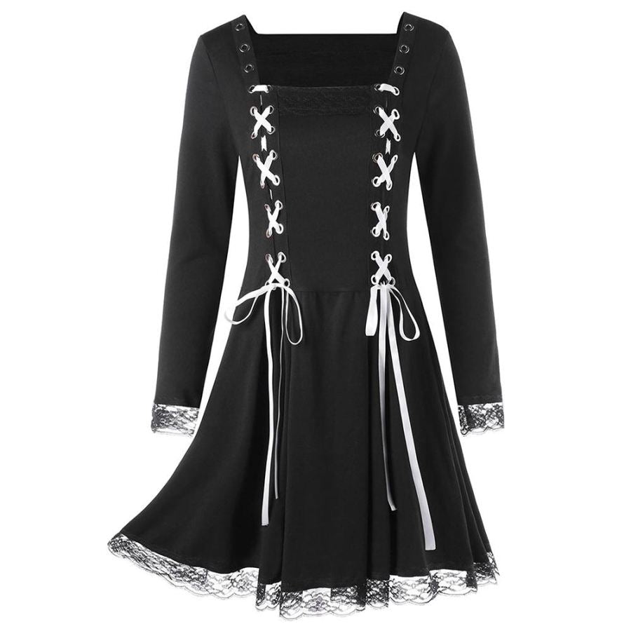 Lace Panel Criss Cross Long Sleeve Mini Dress  Gothic Style Lace Up Black Dress - SexyHeksieLingerie