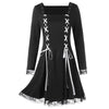 Lace Panel Criss Cross Long Sleeve Mini Dress  Gothic Style Lace Up Black Dress