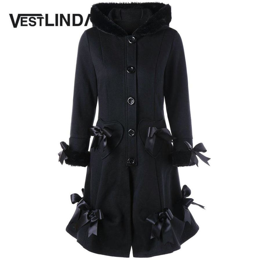 Lace-up Hooded Bowknot Pocket Long Wool Coat  Casual  Outwear - SexyHeksieLingerie