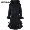 Lace-up Hooded Bowknot Pocket Long Wool Coat  Casual  Outwear