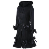 Lace-up Hooded Bowknot Pocket Long Wool Coat  Casual  Outwear - sexyheksie