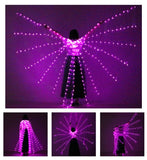 New Open Style LED Stage Performance Prop Women Dance Girls LED Luminous ISIS Wings Light Up Wing Costume LED Wings With Sticks - SexyHeksieLingerie