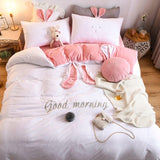 Velvet Fleece bedding set 4pcs/set stripe duvet cover flat or  fitted sheet pillowcase flannel winter warm bed linen bedspreads - sexyheksie