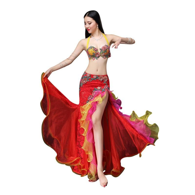 0c8cec6de Performance ATS Belly Dance, Gypsy Costume Set 2 Piece Outfit, Bra & Skirt  Tribal Be... - Pink / XL