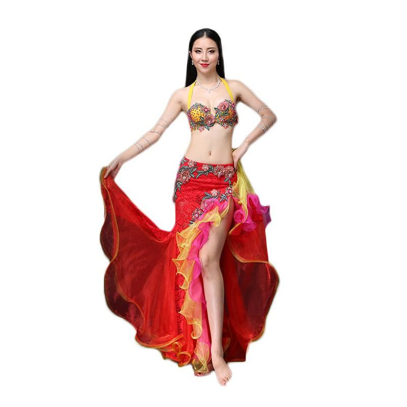 Performance ATS  Belly Dance, Gypsy Costume Set 2 Piece Outfit, Bra & Skirt Tribal Belly Dance Costume - sexyheksie