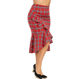 Plus Size Ruffle Plaid Mermaid Skirt - sexyheksie