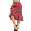 Plus Size Ruffle Plaid Mermaid Skirt