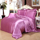 pure 95%Silk+5%Cotton Satin Silk Bedding Set,Home Textile King or Queen or Twin size bed set - sexyheksie