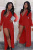 Red Long Sleeve V-Neck Maxi Romper LB-L55178-2 Size M