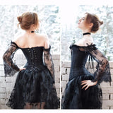 Sexy Off The Shoulder Short Front Long Back Lace Corset Robe Female Dress - SexyHeksieLingerie
