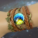 Wax rope, Pu leather, Glass (Unisex) Braided Galaxy Bracelet TB658 - sexyheksie