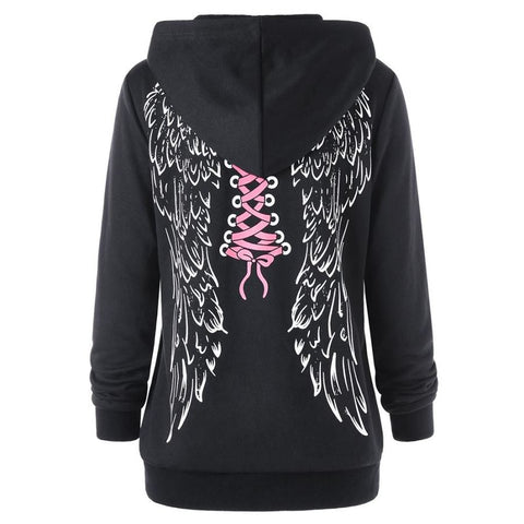 Wings Print Hoodie Kangaroo Pocket Sweatshirt Female Casual Top - sexyheksie
