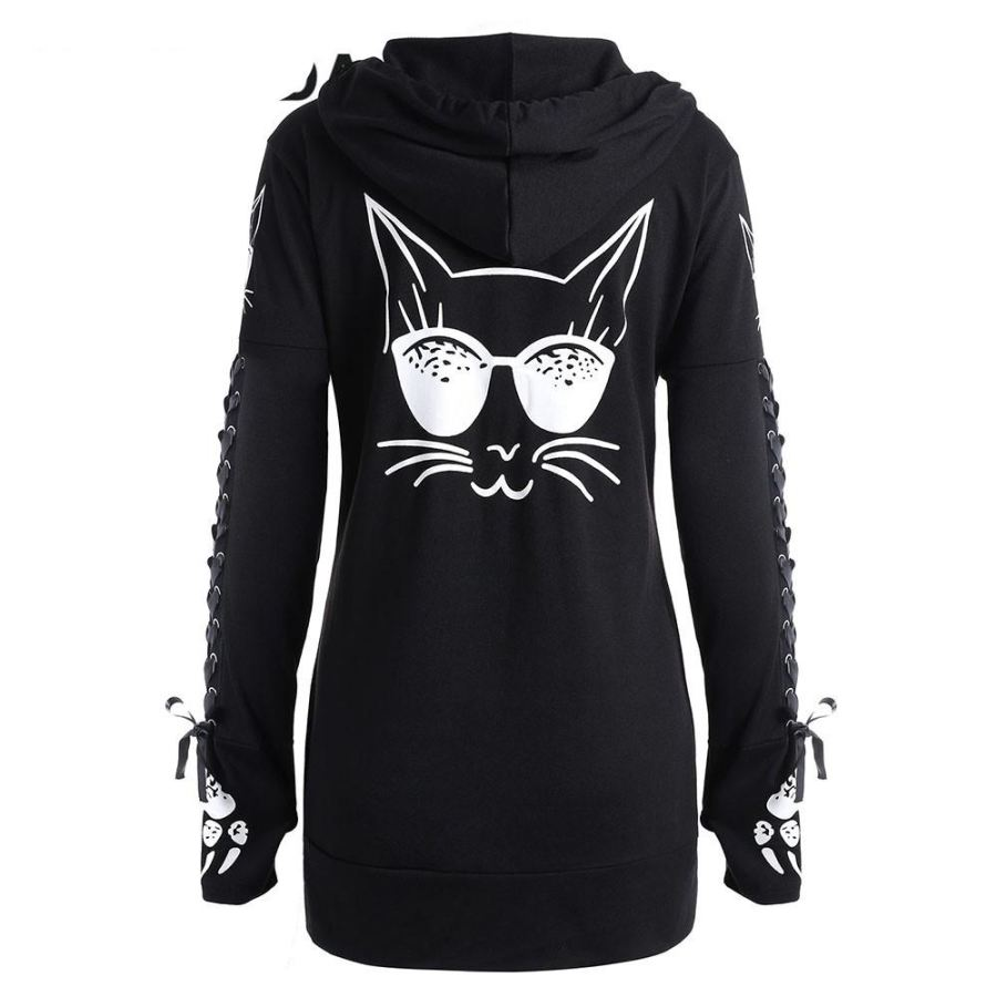 Winter Fashion Lace Up Cat Print Zipp Up Hoodie - SexyHeksieLingerie