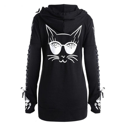Winter Fashion Lace Up Cat Print Zipp Up Hoodie - sexyheksie