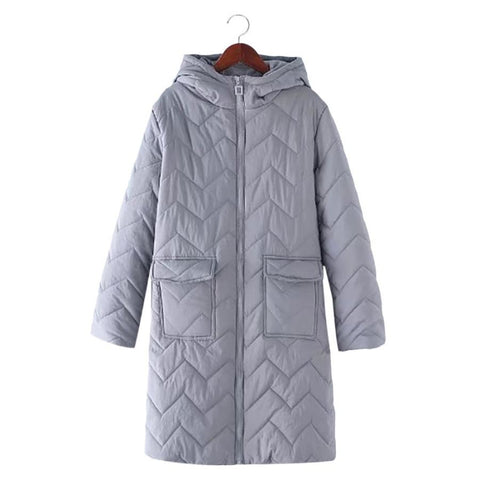 Winter Trendy Hooded Long Sleeve Zipper Pocket Female Coat - SexyHeksieLingerie