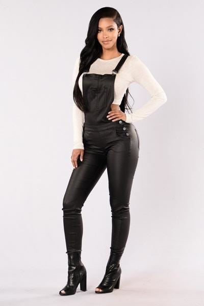 Women's PU Leather Skinny Leg Dungaree/ Jumpsuit LB-L55243 size M - sexyheksie