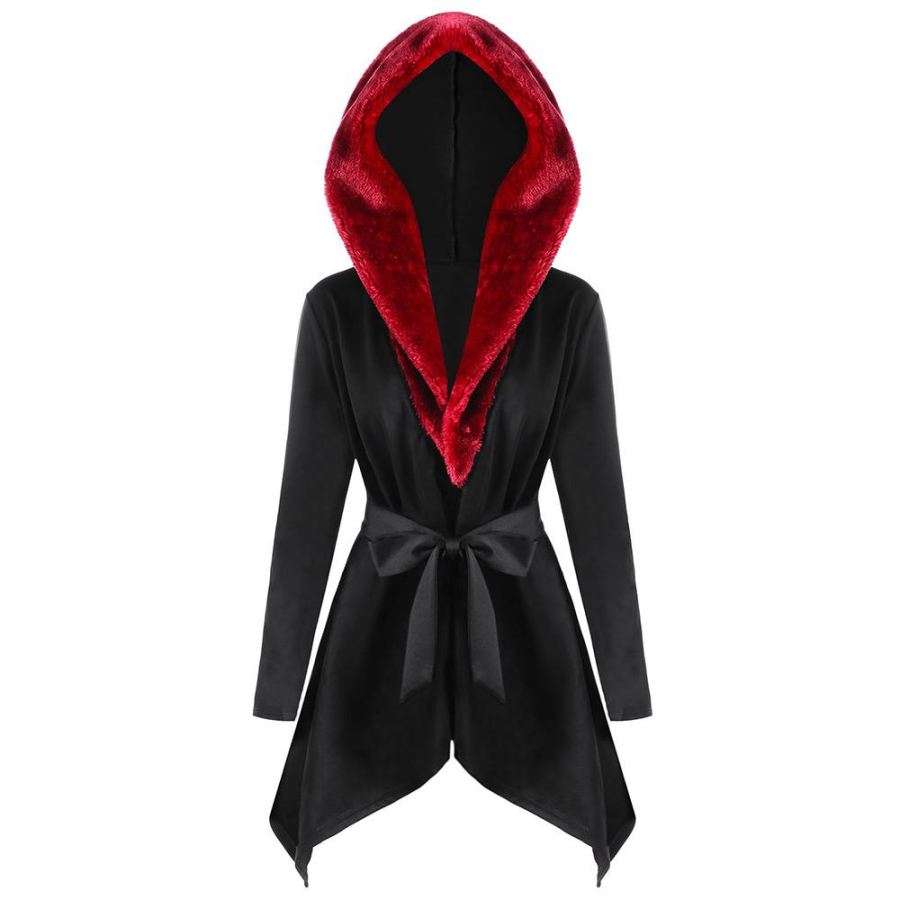 Women's Trench Coat New Fashion Hooded Faux Fur Collar Asymmetric Winter Coat - sexyheksie