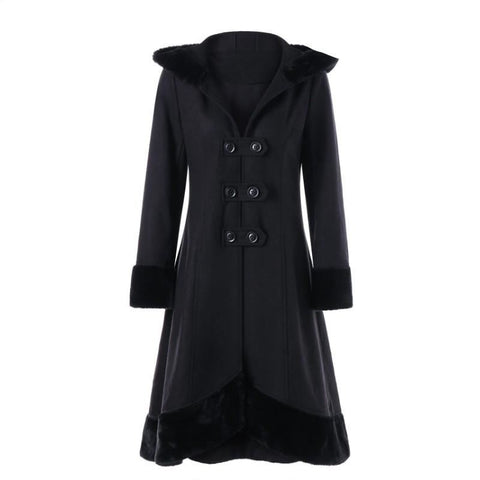 Women's Trench Coat Winter Double Breasted Woollen Coat Slim Lace Up Hooded Black Outerwear - SexyHeksieLingerie