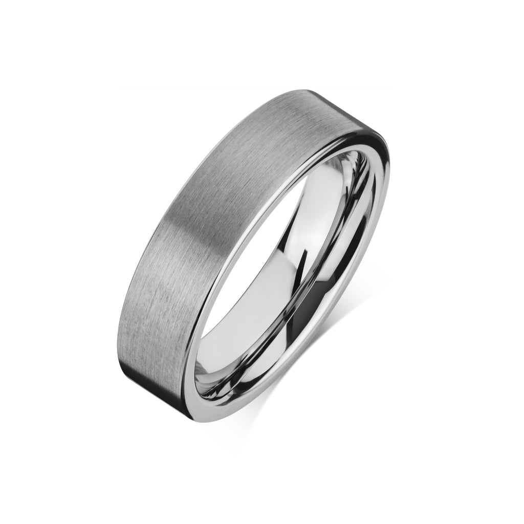 "Tungsten Carbide Mens Rings - Brushed Men's Wedding Ring, 6mm Flat Tungsten, Comfort Fit Band - ""ARCHIE"""