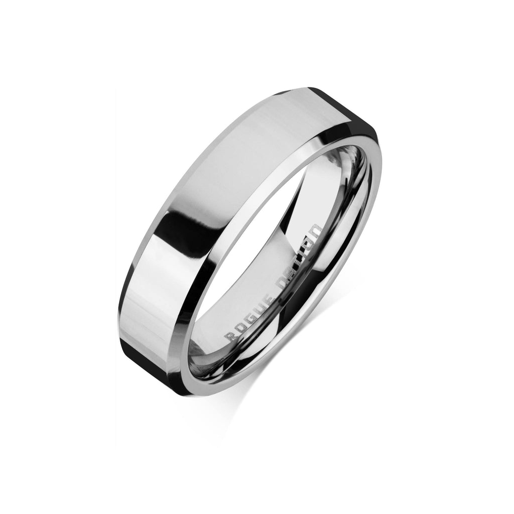 "Tungsten Carbide Mens Rings - Polished Men's Wedding Ring, 6mm Tapered Tungsten, Comfort Fit Band - ""AXEL"""