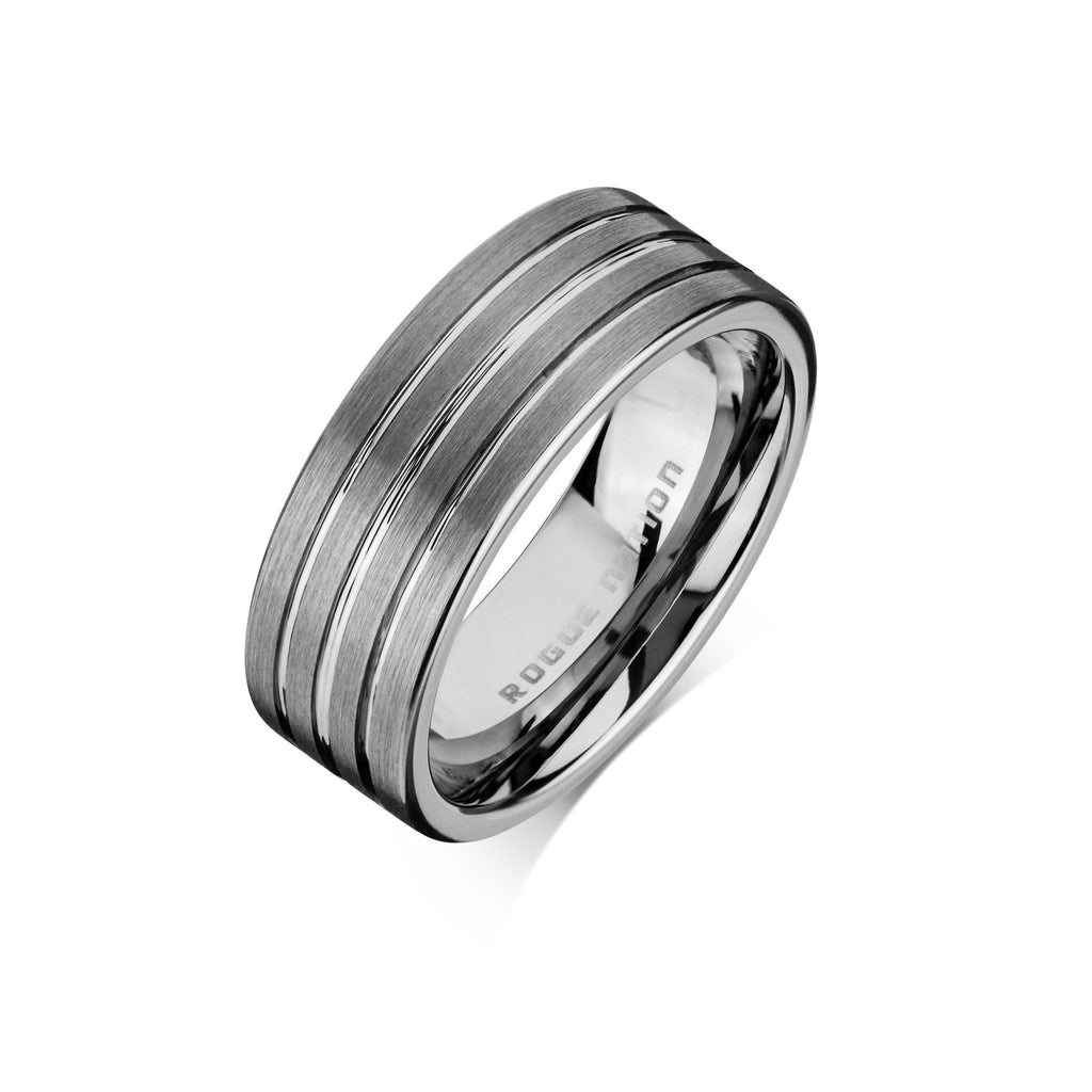 "Tungsten Carbide Mens Rings - Brushed Men's Wedding Ring, 8mm Flat Tungsten, Grooved, Comfort Fit Band - ""BAXTER"""