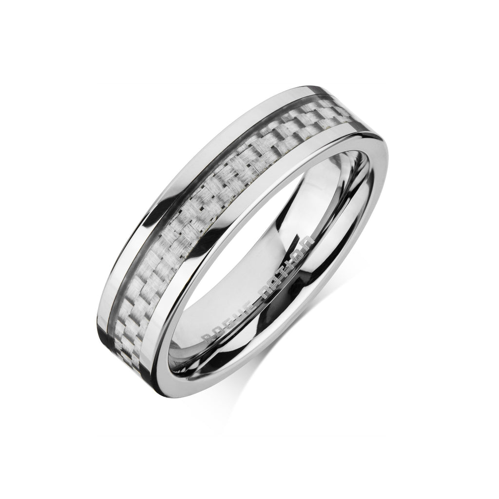 Carbon Fiber Mens Wedding Ring 6mm Flat Tungsten Comfort Fit Band