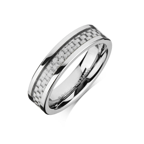 "Tungsten Carbide Mens Rings - Carbon Fiber Men's Wedding Ring, 6mm Flat Tungsten, Comfort Fit Band - ""CODY"""