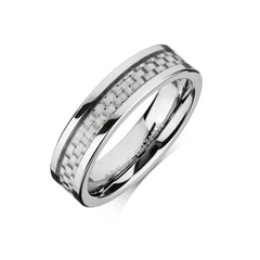 Tungsten Carbide Mens Rings - Carbon Fiber Men's Wedding Ring, 6mm Flat Tungsten, Comfort Fit Band -