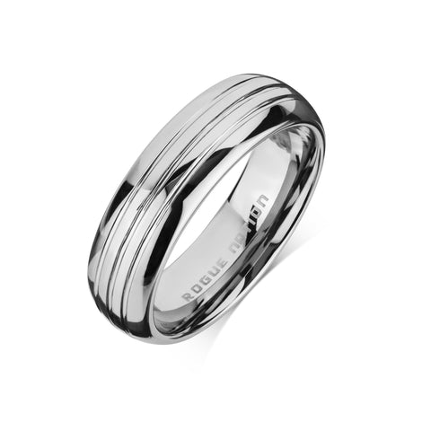 "Tungsten Carbide Mens Rings - Polished Men's Wedding Ring, 7mm Rounded & Grooved Tungsten, Comfort Fit Band - ""CORBEN"""