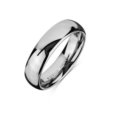 "Tungsten Carbide Mens Rings - Polished Men's Wedding Ring, 6mm Rounded Tungsten, Comfort Fit Band - ""CYRUS"""