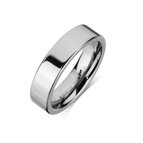 "Tungsten Carbide Mens Rings - Polished Men's Wedding Ring, 6mm Flat Tungsten, Comfort Fit Band - ""DEXTER"""
