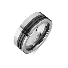 Tungsten Carbide Mens Rings - Polished Men's Ring, 8mm Combo Black Ceramic Tungsten, Comfort Fit Band -