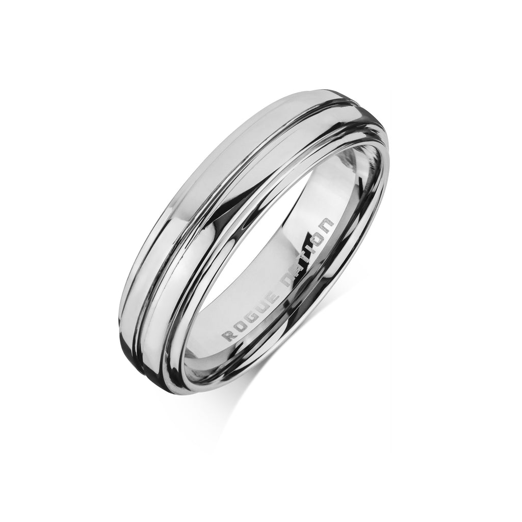 "Tungsten Carbide Mens Rings - Polished Men's Wedding Ring, 6mm Rounded & Grooved Tungsten, Comfort Fit Band - ""DRAKE"""
