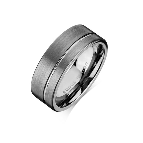"Tungsten Carbide Mens Rings - Brushed Men's Wedding Ring, 8mm Flat Tungsten, Grooved, Comfort Fit Band - ""DUTCH"""