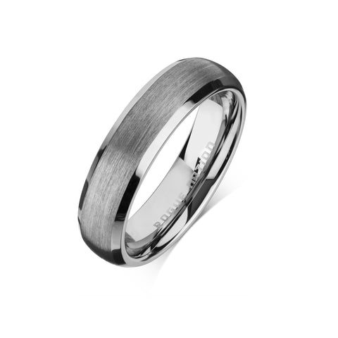 "Tungsten Carbide Mens Rings - Brushed Men's Wedding Ring, 6mm Rounded, Polished Edged, Tungsten, Comfort Fit Band - ""FINCH"""
