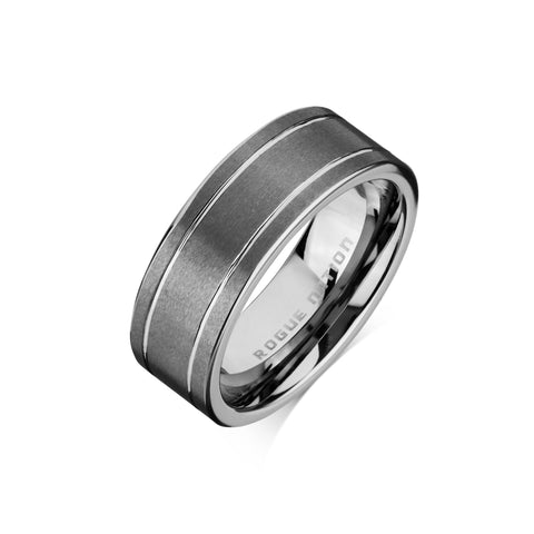 "Tungsten Carbide Mens Rings - Brushed Men's Wedding Ring, 8mm Flat Tungsten, Grooved, Comfort Fit Band - ""HUGO"""