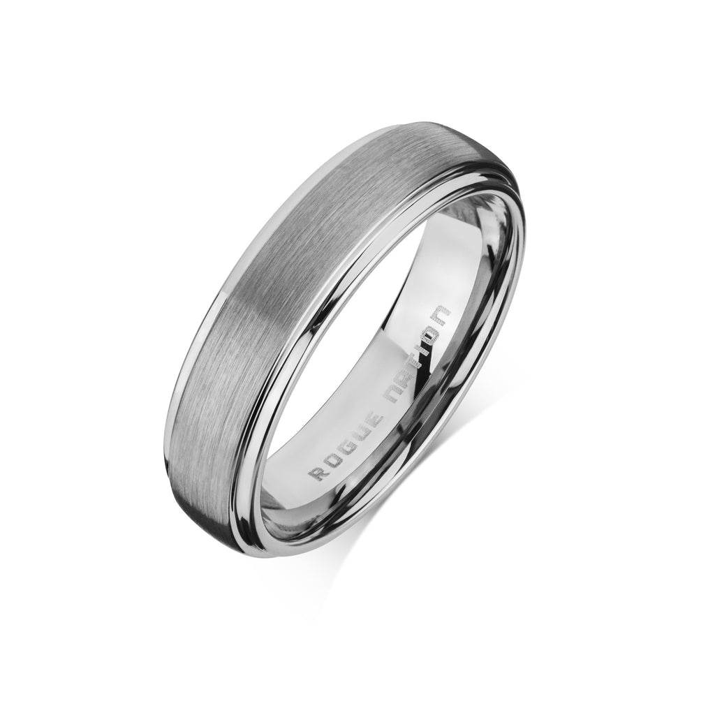 "Tungsten Carbide Mens Rings - Brushed Men's Wedding Ring, 6mm Flat Tungsten, Grooved, Comfort Fit Band - ""HUNTER"""